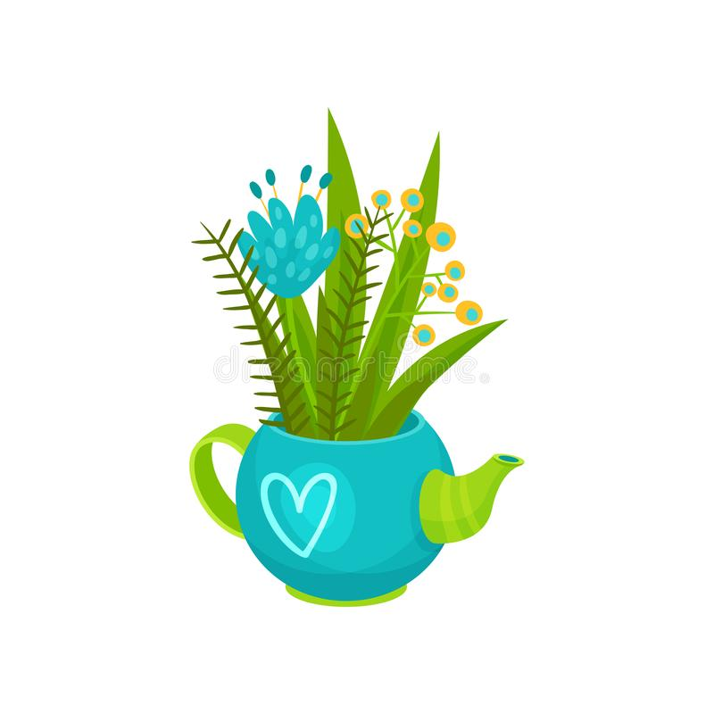 Bouquet of wild flowers in blue teapot with heart pattern. Spring season. Cute floral composition. Flat vector design. Bouquet of wild flowers in blue teapot royalty free illustration