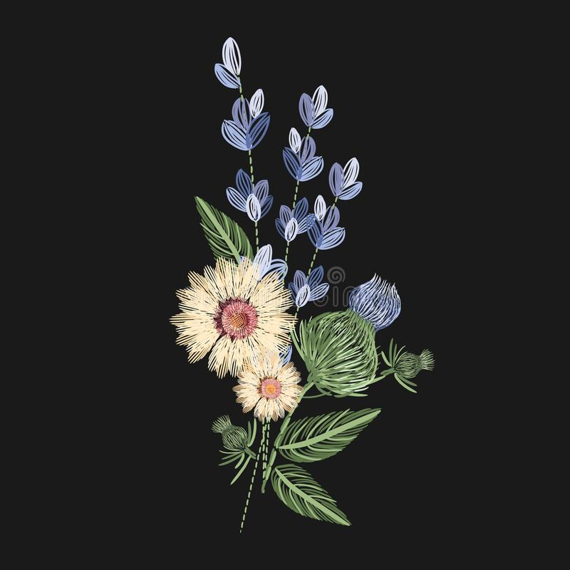 Bouquet of wild flowers embroidered with colorful threads on black background. Embroidery design with herbaceous plants stock illustration