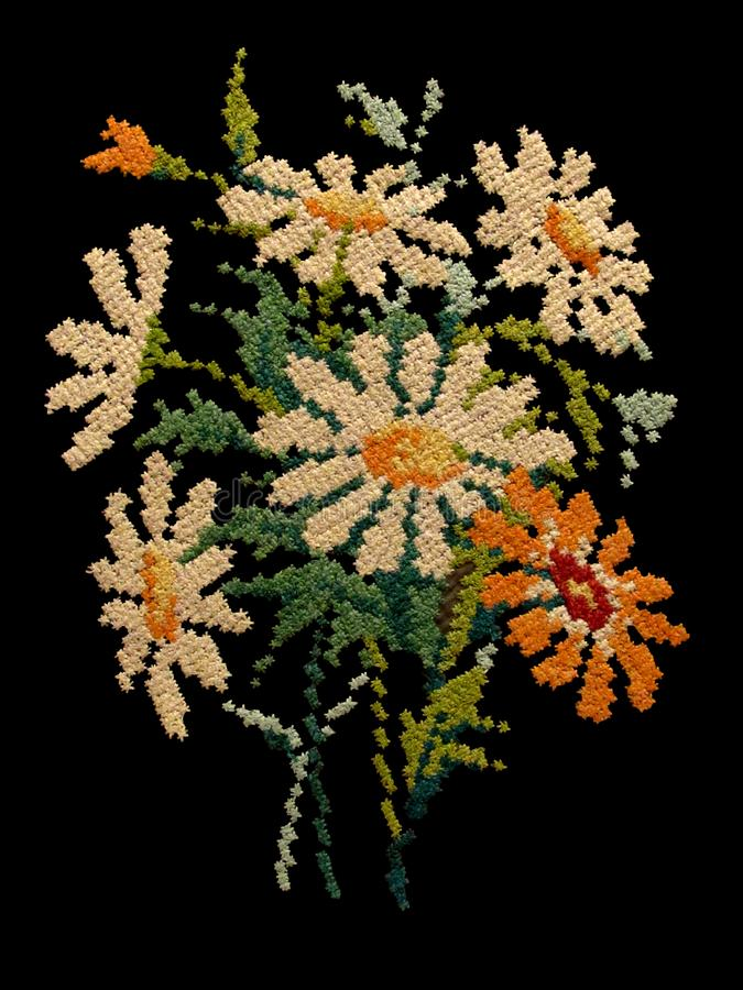 Bouquet of wild flowers embroidery needlework royalty free stock photo