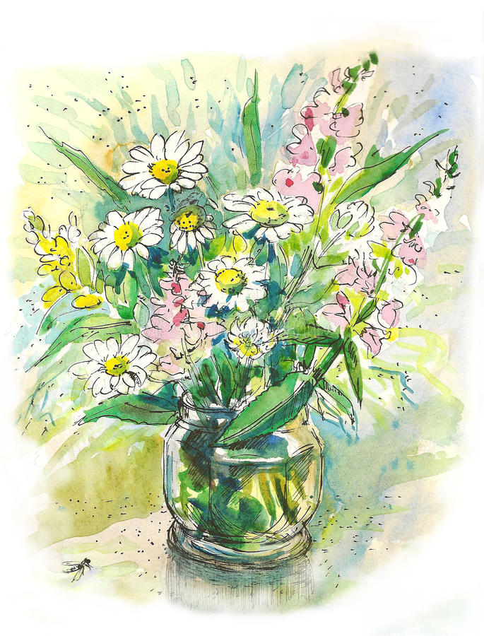 Bouquet from wild flowers in a glass jar royalty free illustration