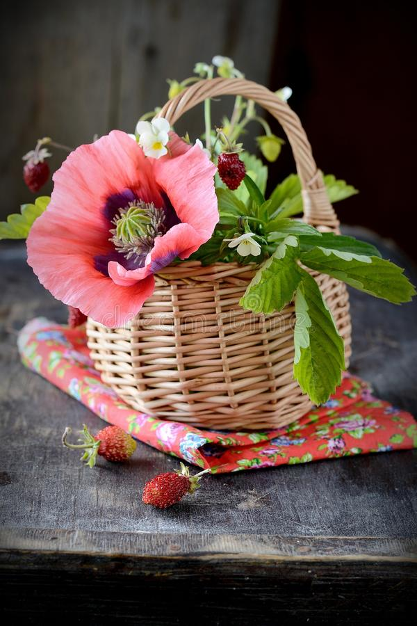 Download Bouquet Of Wild Strawberries In A Basket Stock Photo - Image: 43516572