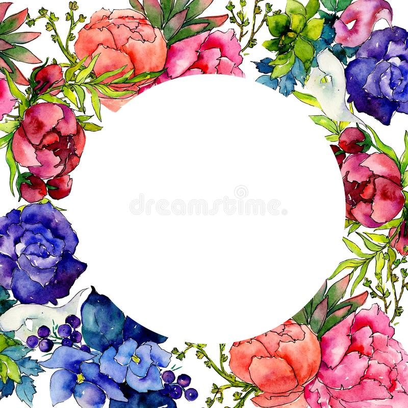Bouquet wildflower flower frame in a watercolor style. royalty free illustration