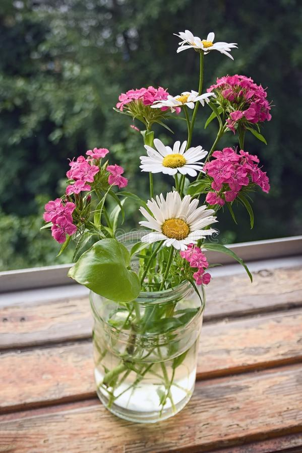 A bouquet of wildflowers in a glass jar. On a table by the window royalty free stock photography