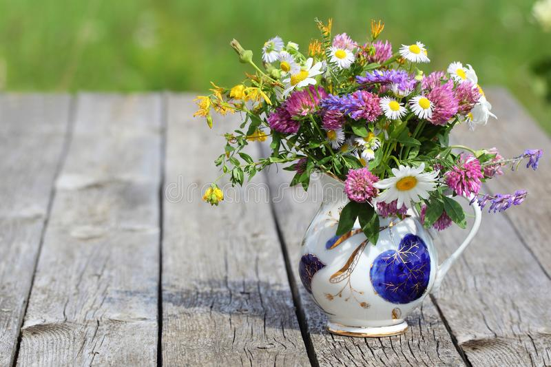 Bouquet of Wildflowers in a Jug royalty free stock photos