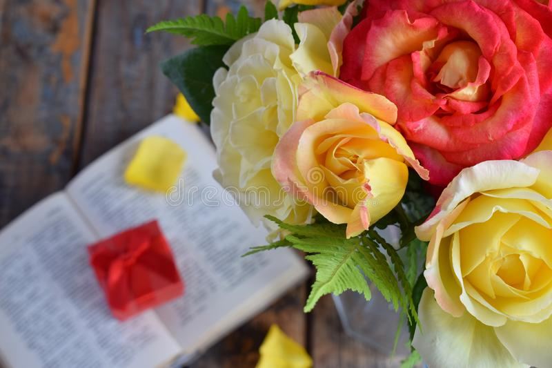 Bouquet of yellow and red roses. Flowers. Valentine or Wedding Theme. Romantic. Copy space.  royalty free stock image