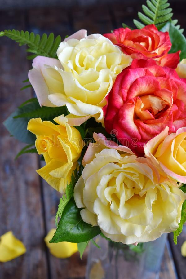Bouquet of yellow and red roses. Flowers. Valentine or Wedding Theme. Romantic. Copy space.  royalty free stock photography