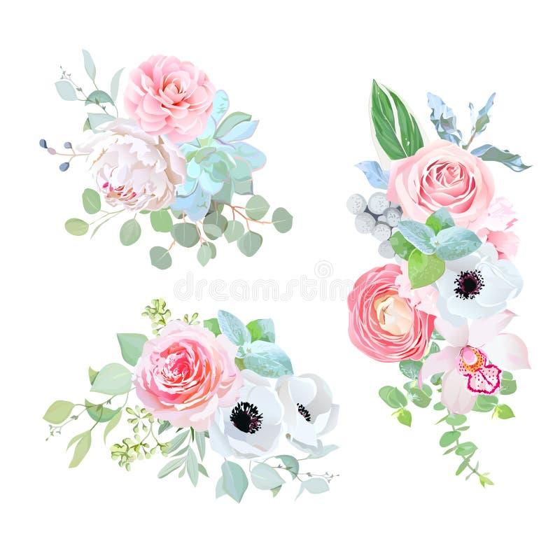 Bouquets élégants d'ensemble de conception de vecteur de fleurs de mariage illustration stock