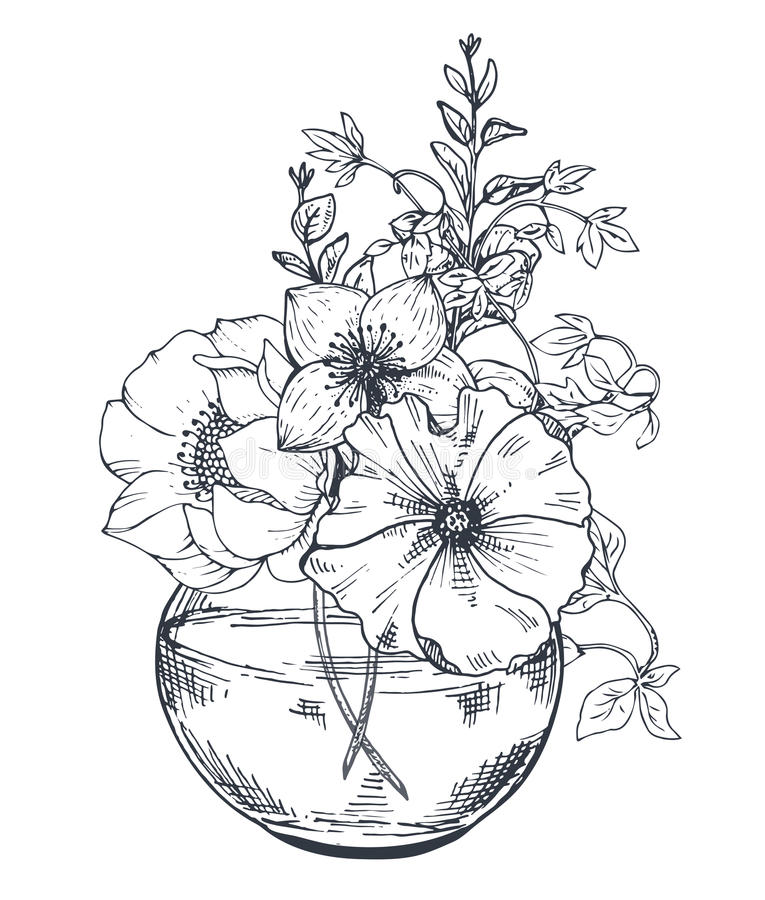 Bouquets avec les fleurs et les plantes tirées par la main dans le pot illustration stock