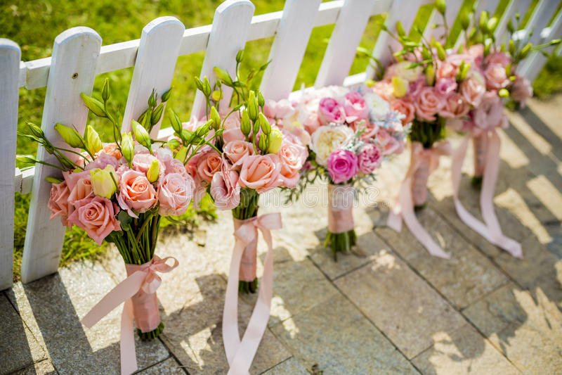Bouquets of bridesmaid stock images