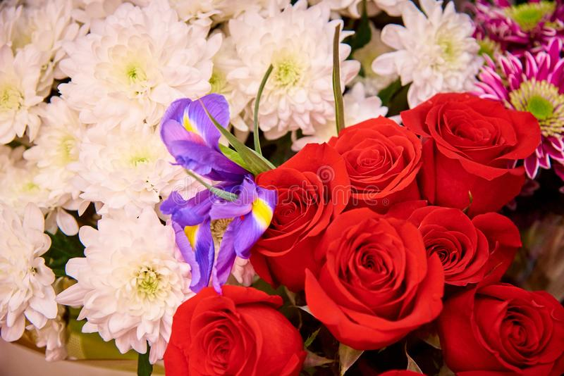 Bouquets of bright colors close-up stock photo