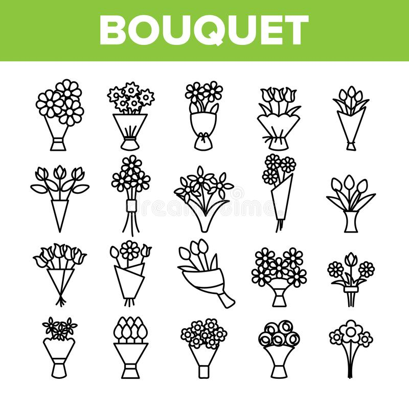 Bouquets, Bunches Of Flowers Vector Icons Set royalty free illustration