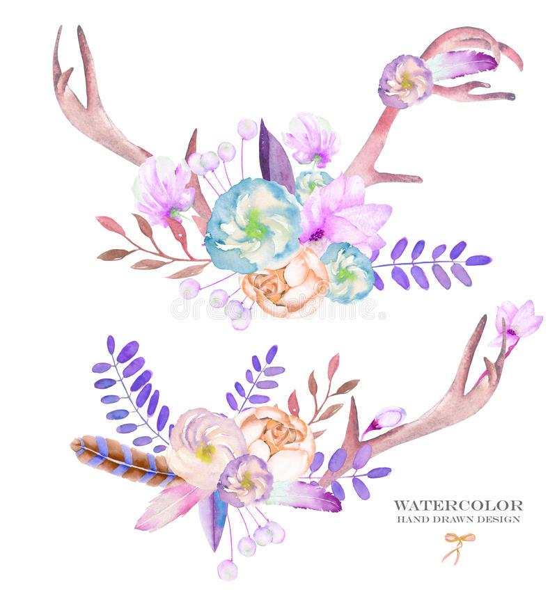 Bouquets décoratifs avec les éléments floraux d'aquarelle : fleurs, feuilles, plumes, flèches et branches illustration stock