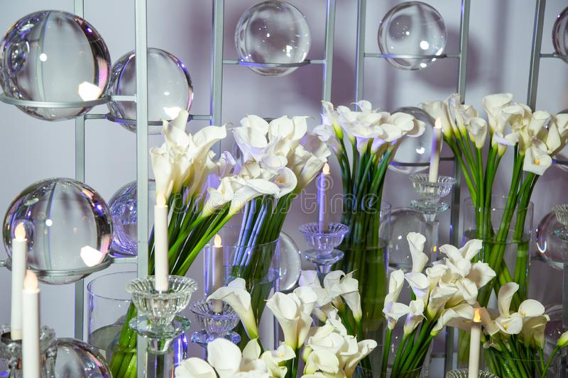 Bouquets of daffodils in high glass vases. stock photos