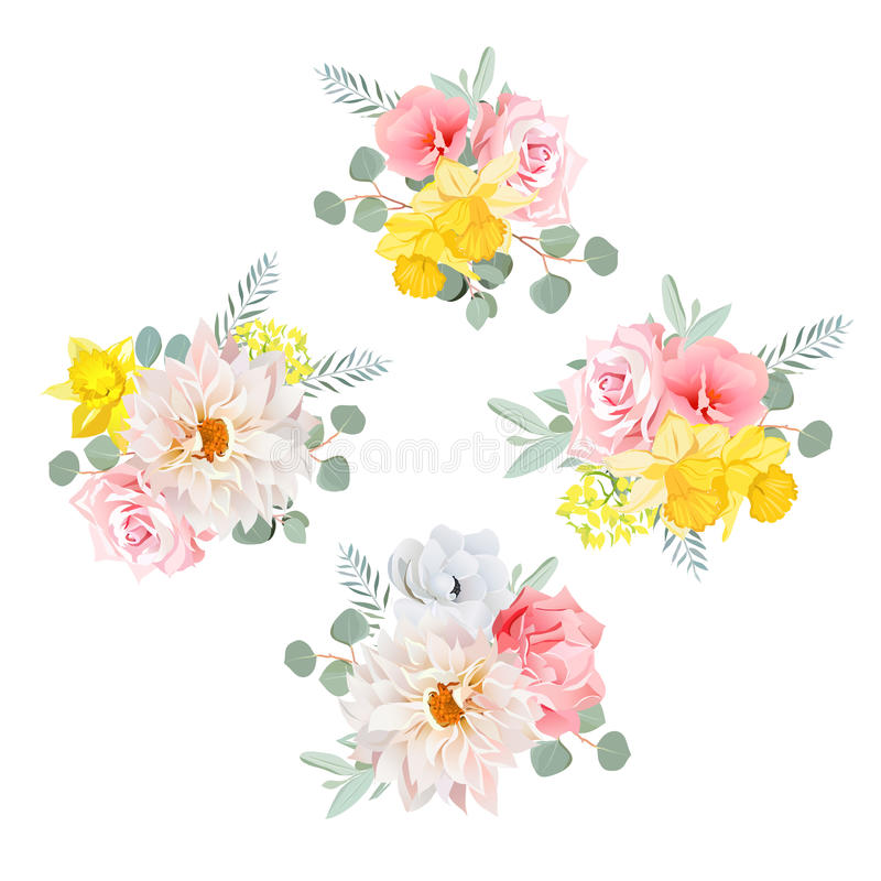 Bouquets of dahlia, rose, narcissus, anemone, pink flowers and eucalyptus leaves. All elements are and editable royalty free illustration