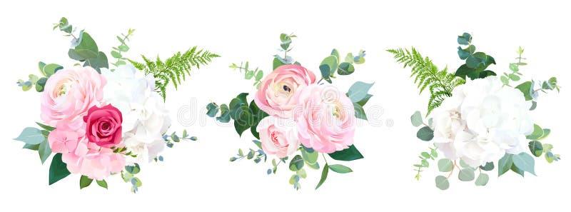 Bouquets de conception de vecteur de fleurs de mariage de style d'Eco illustration libre de droits