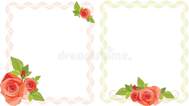 Bouquets des roses dans les trames décoratives illustration de vecteur