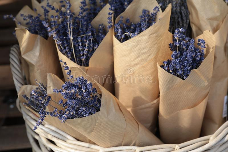 Bouquets of dried lavender in the flowers bar. stock photos