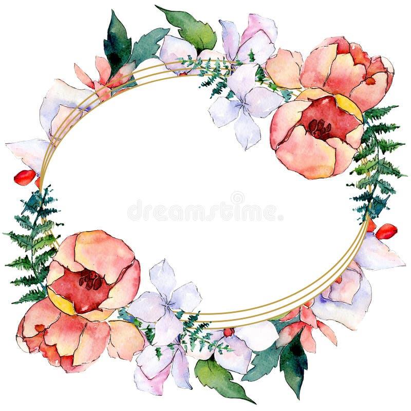 Bouquets floral botanical flowers. Watercolor background illustration set. Frame border ornament square. Bouquets floral botanical flowers. Wild spring leaf stock photos