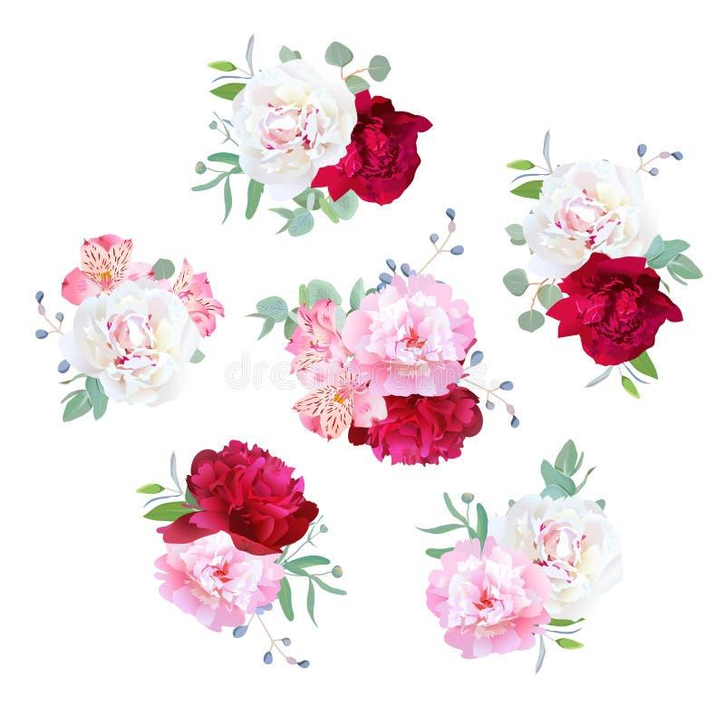 Bouquets floraux de petit mariage de pivoine, lis d'alstroemeria, eucaliptus en bon état illustration stock