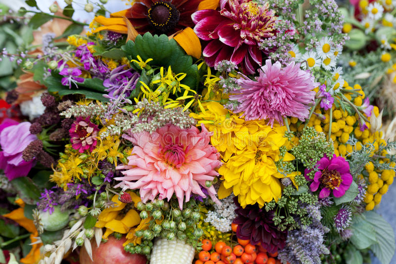 Bouquets of flowers and herbs royalty free stock images