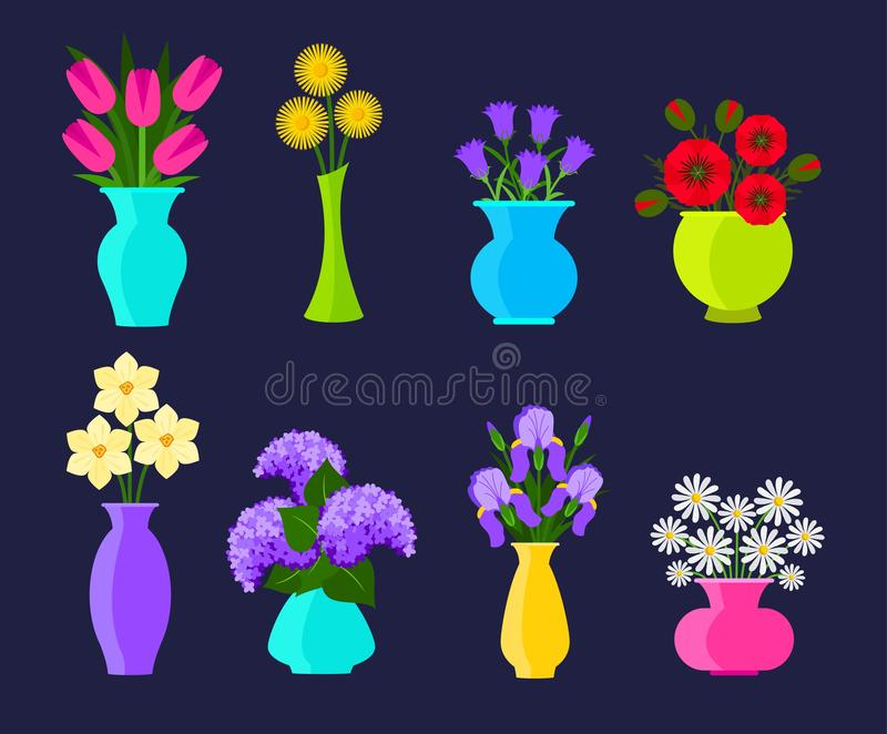 Bouquets of flowers in vases in flat style. Summer and spring flowers set. Vector flowers illustration royalty free illustration
