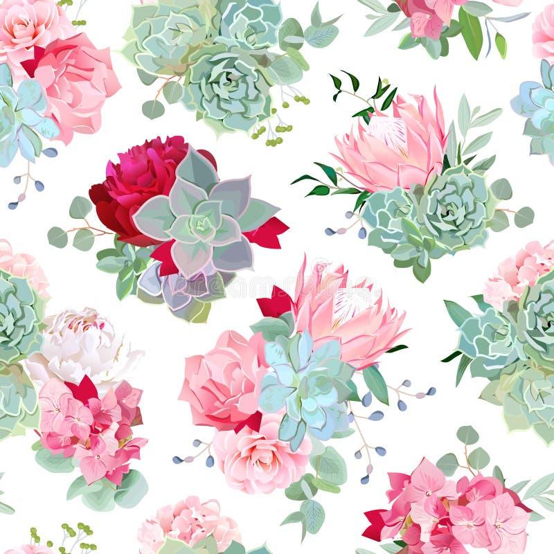 Bouquets mélangés élégants des succulents illustration libre de droits