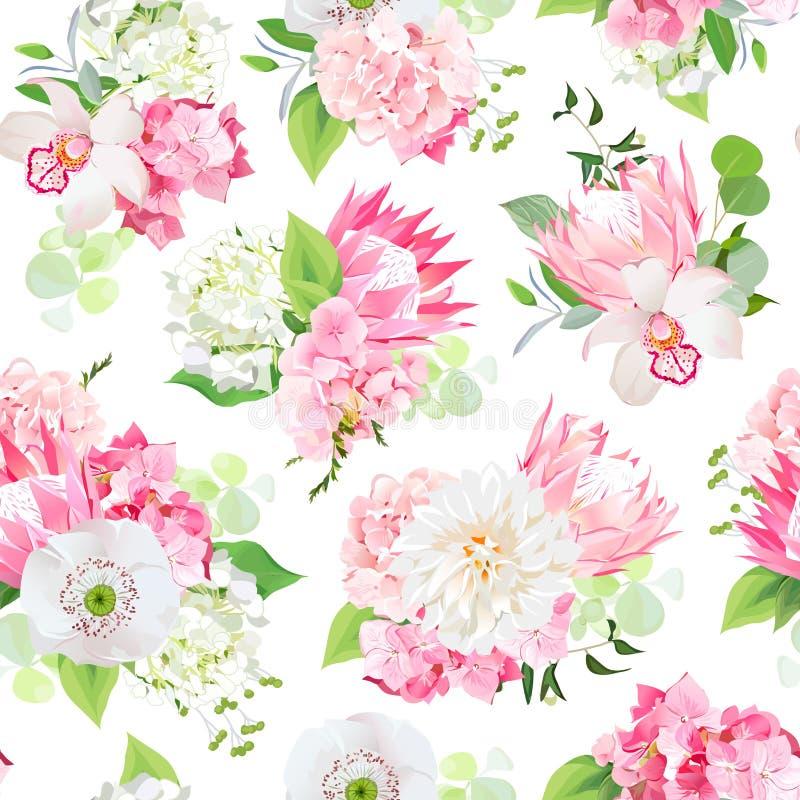 Bouquets mélangés de ressort d'hortensia rose illustration libre de droits