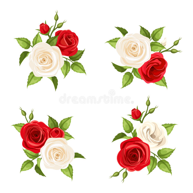 Free Bouquets Of Red And White Roses. Vector Set Of Four Illustrations. Stock Photography - 59765482