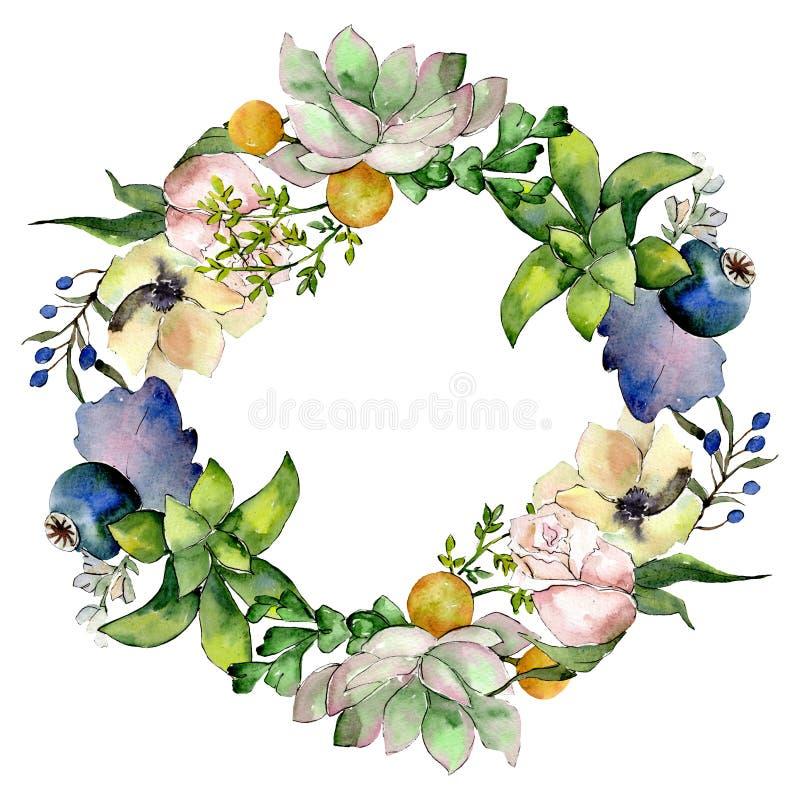 Bouquets with succulent floral botanical flowers. Watercolor background illustration set. Frame border ornament square. Bouquets with succulent floral botanical vector illustration