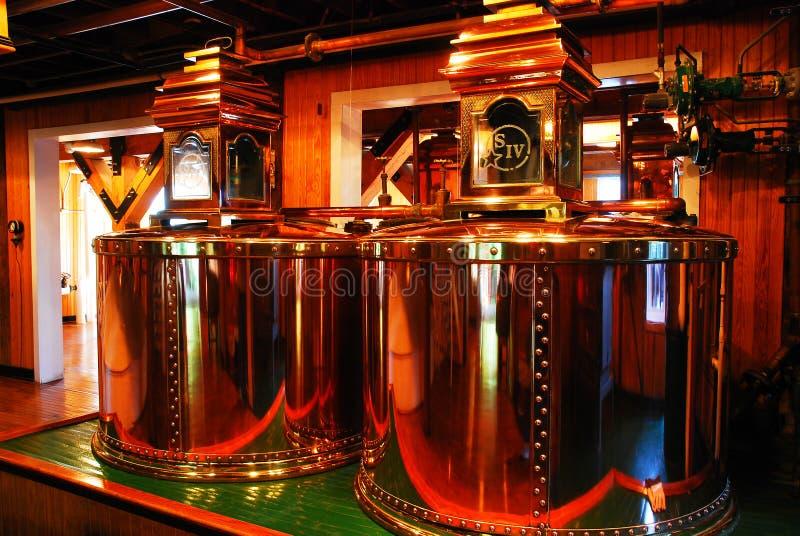 Bourbon making Copper Vats stock image