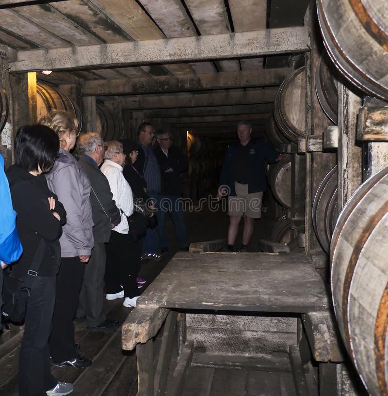 Bourbon que amadurece-se nos tambores na destilaria em Bardstown Kentucky EUA imagem de stock