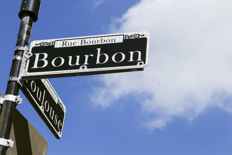 Bourbon-Straßenschild in New Orleans stockfotos
