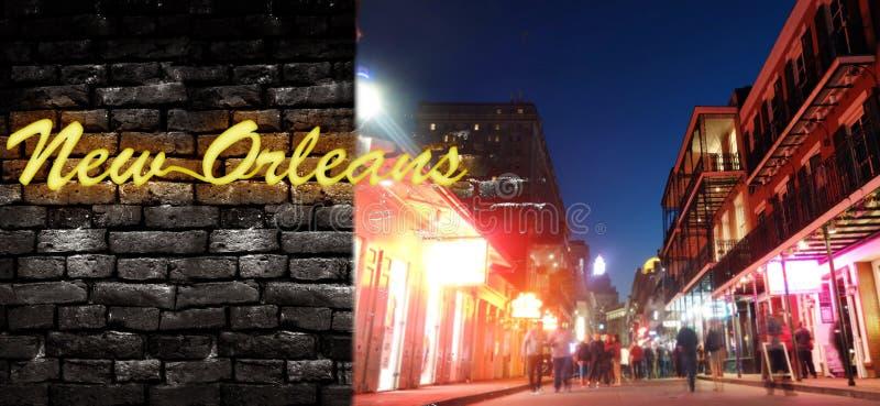 Bourbon Street och New Orleans neon arkivfoton