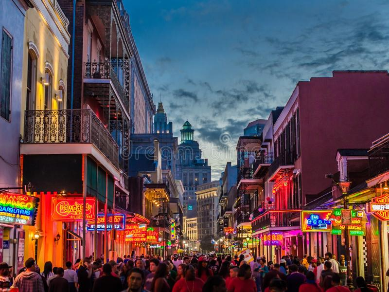 Bourbon ulica, Nowy Orlean, Luizjana fotografia stock