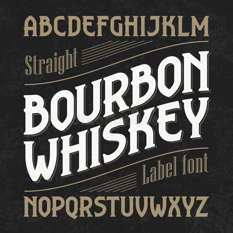 Free Bourbon Whiskey Label Font With Sample Design Stock Images - 70976204