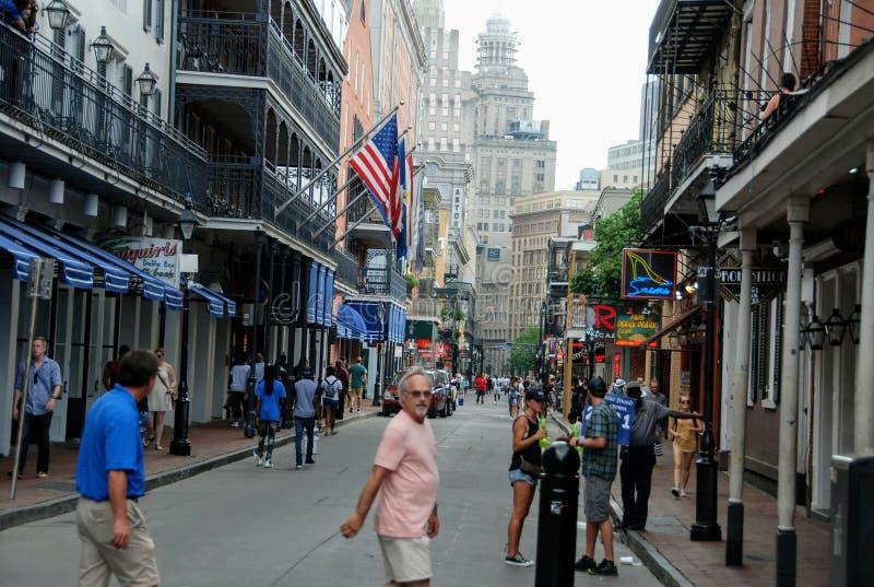 BourbonSt, New Orleans, Louisiana, USA arkivfoton