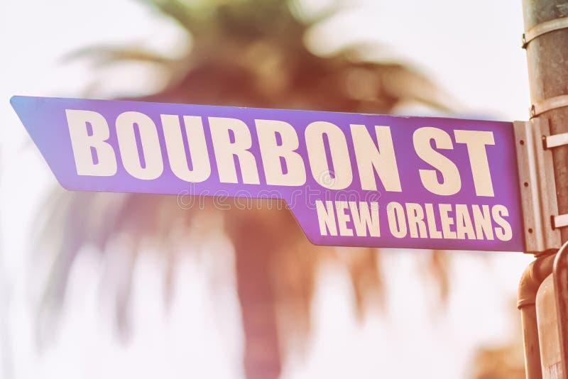 Bourbonu Nowy Orlean Uliczny znak uliczny zdjęcie stock