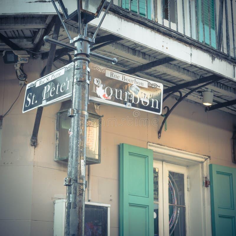 Bourbonu znak uliczny w Nowy Orlean, Luizjana, usa obraz stock