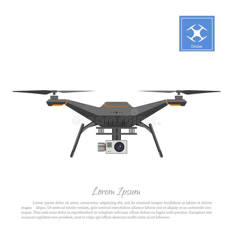 Bourdon avec l'appareil-photo d'action sur un fond blanc Vue de face de quadrocopter illustration libre de droits