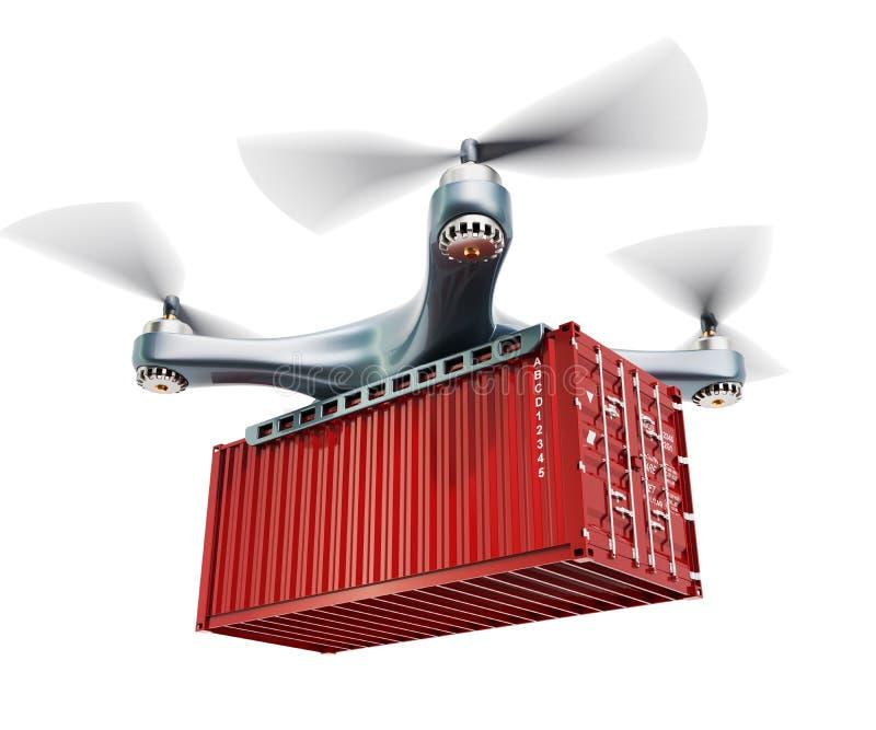 Bourdon avec le conteneur de cargaison Concept rapide de la livraison et de transport de marchandises, rendu 3D illustration libre de droits