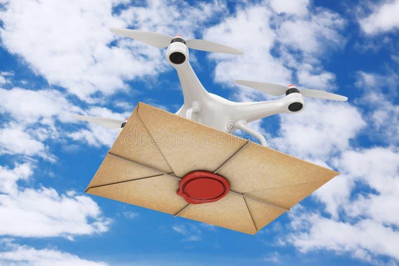 Bourdon d'air livrant la vieille enveloppe de lettre avec le joint rouge de cire rendu 3d illustration libre de droits