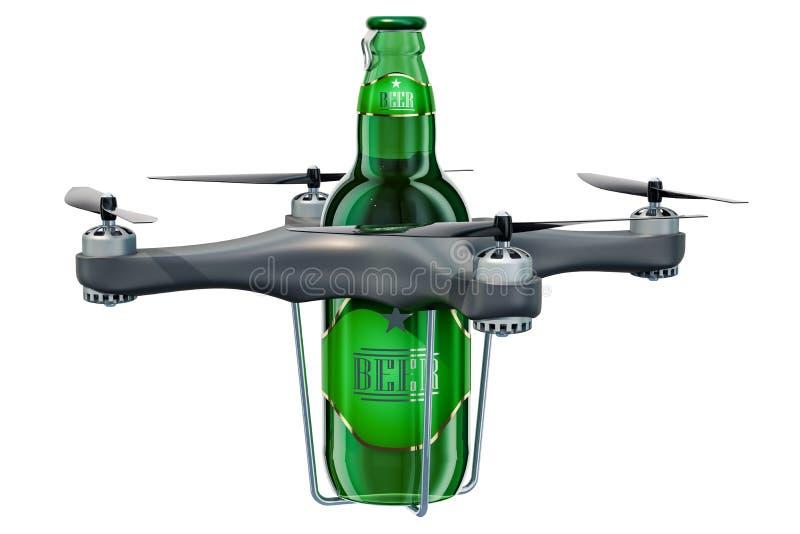 Bourdon de la livraison avec la bouteille à bière, rendu 3D illustration stock