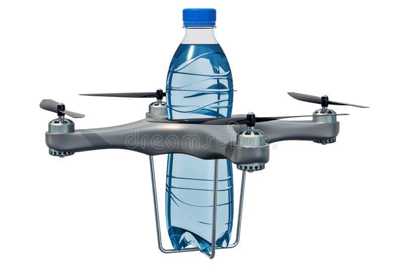 Bourdon de la livraison avec la bouteille d'eau, rendu 3D illustration stock