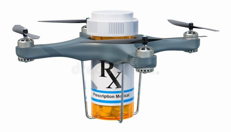 Bourdon de la livraison avec la bouteille de médicament, rendu 3D illustration de vecteur