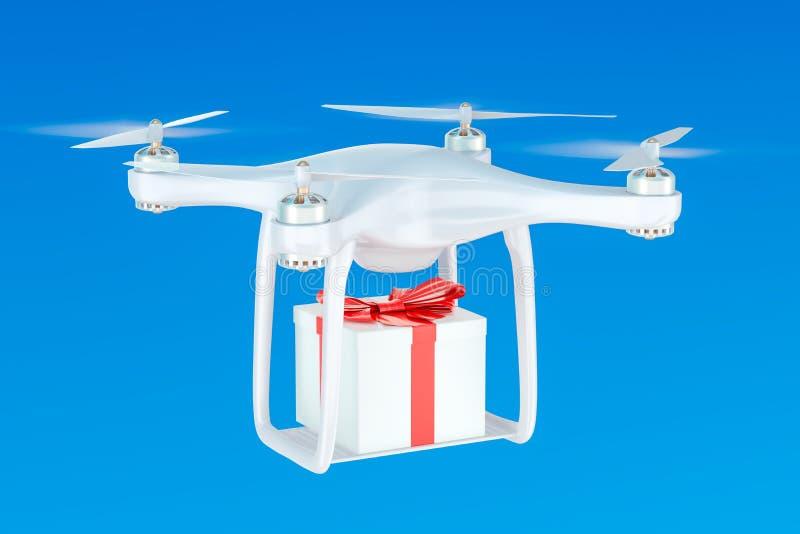 Bourdon de la livraison avec un boîte-cadeau dans le ciel bleu, rendu 3D illustration libre de droits