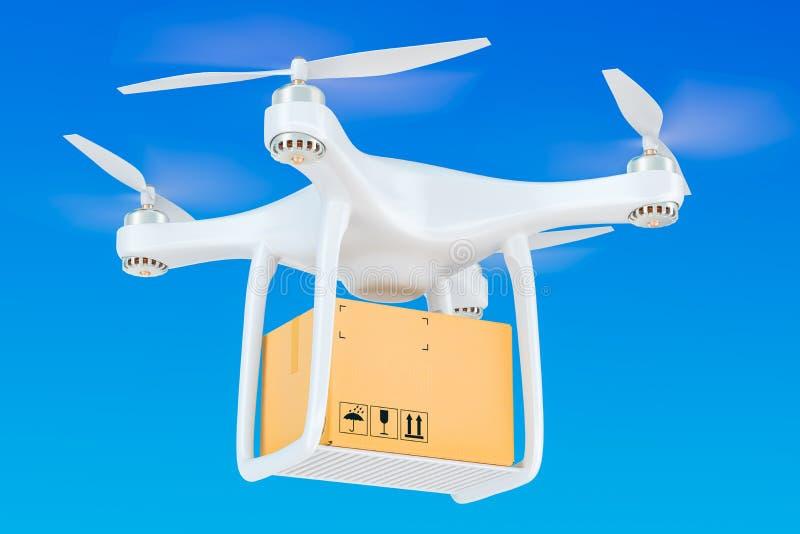 Bourdon de la livraison avec un colis dans le ciel bleu, rendu 3D illustration libre de droits