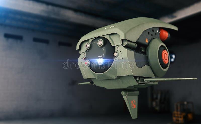 Bourdon de la science fiction hangar illustration de vecteur