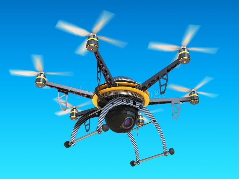 Bourdon de quadrocopter de carbone avec l'appareil photo numérique en ciel illustration libre de droits