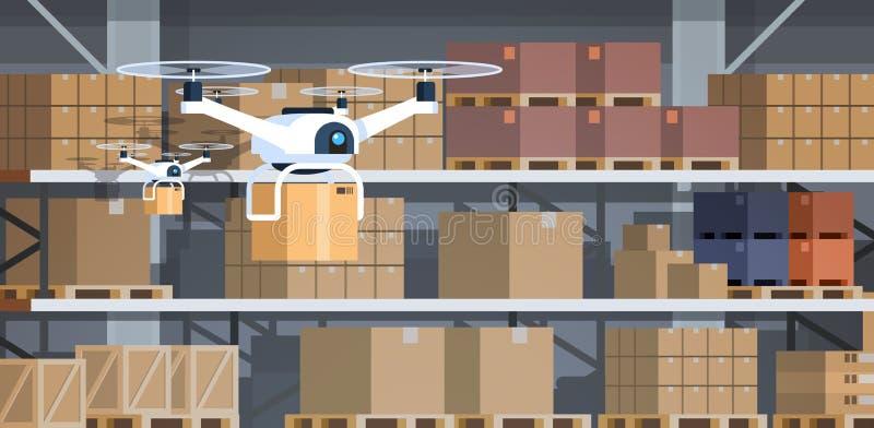 Bourdon fonctionnant l'intelligence artificielle d'entrepôt de robotique de technologie de la livraison avancée intérieure modern illustration de vecteur