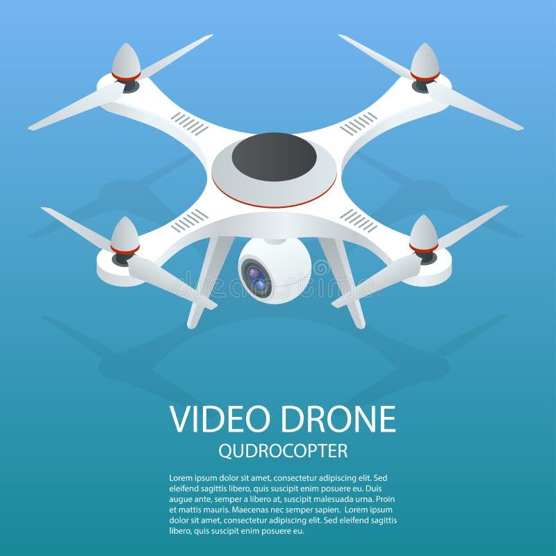 Bourdon isométrique Bourdon ENV Illustration isométrique du quadrocopter 3d de bourdon Bourdon avec l'icône d'appareil-photo d'ac illustration libre de droits